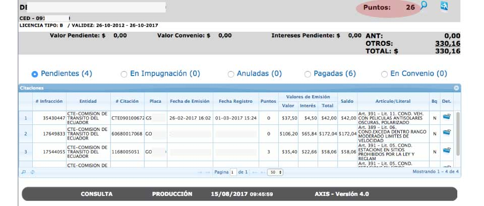 Consulta de infracciones ANT por licencia