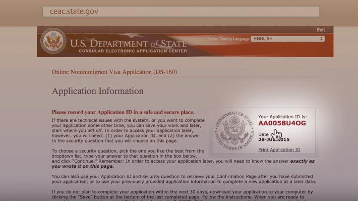 visa americana de turismo
