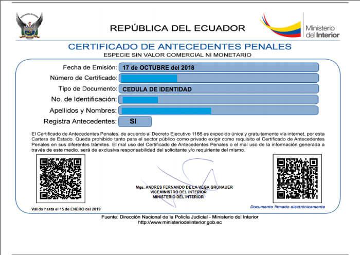 Certificado de antecedentes penales Ecuador