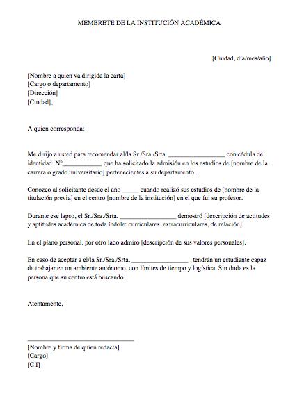 Ejemplo de carta de recomendación académica