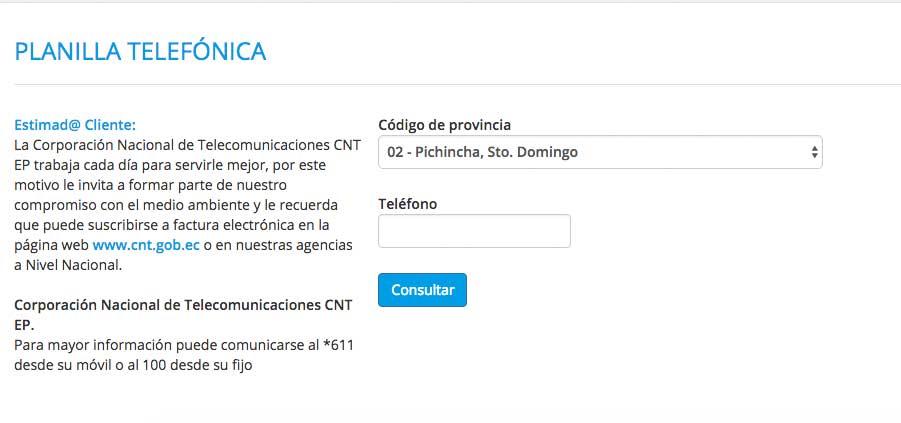 consulta planilla CNT en linea