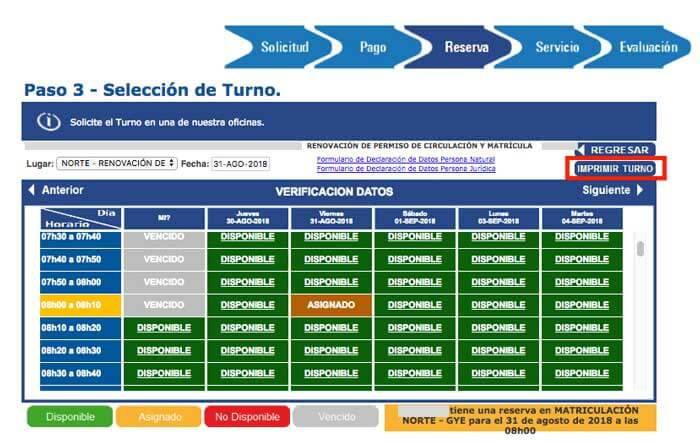turno revisión Guayaquil