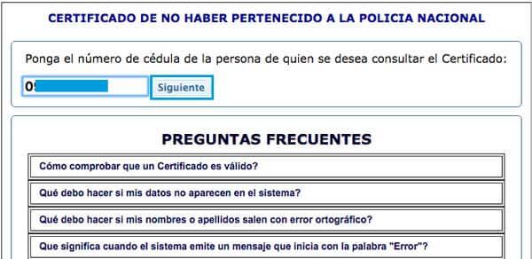 certificado de no pertenecer a la Policía Nacional