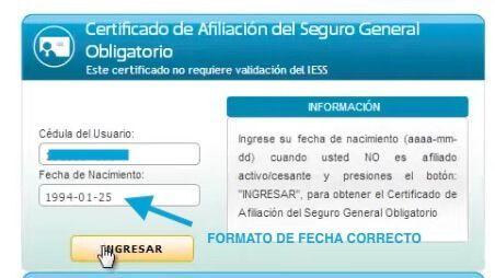 certificado de no afiliacion al iess con fecha de nacimiento