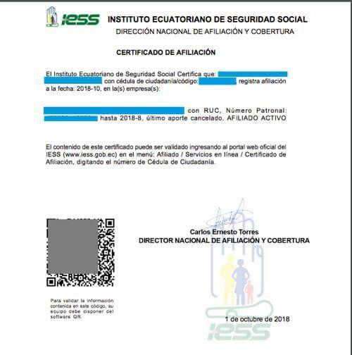 Certificado de NO estar afiliado al IESS