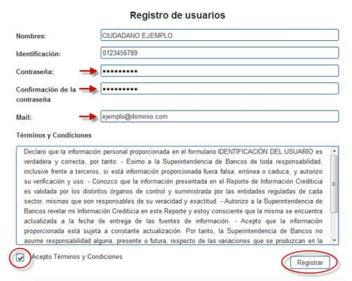 registro de usuario historial crediticio