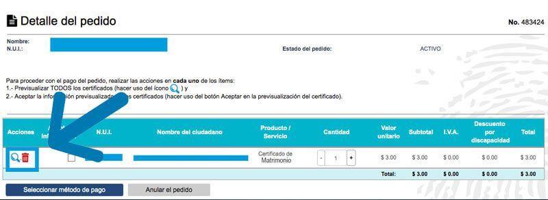 Detalle del pedido del certificado de matrimonio