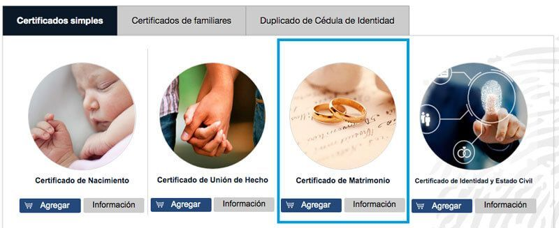 Acta de matrimonio del Registro Civil