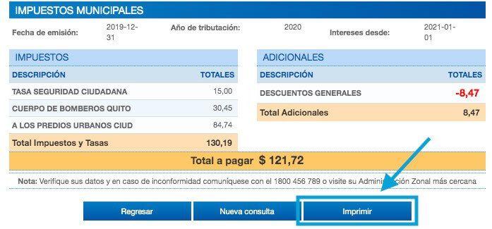 Imprimir comprobante de pago impuesto predial Quito