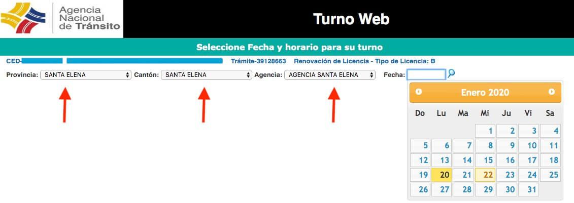 Turno web ANT