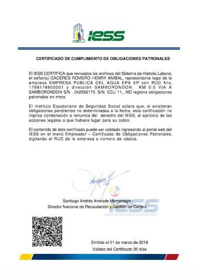 Certificado de Cumplimiento de Obligaciones Patronales