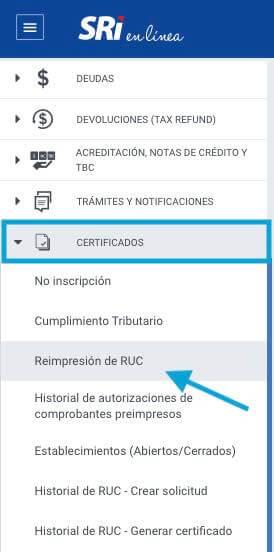 Certificado de RUC SRI en línea