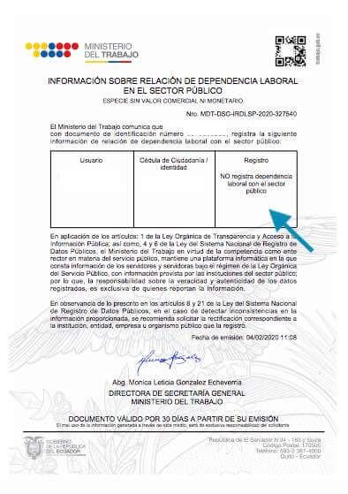 Certificado de relación de dependencia laboral del Sector Público