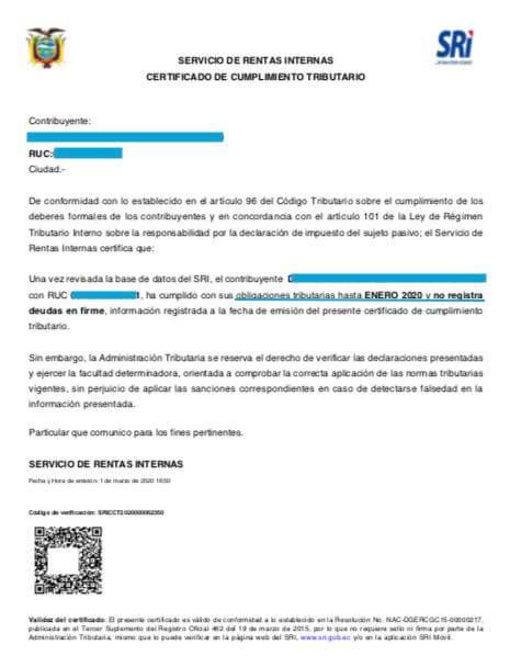 Certificado de no adeudar al SRI en linea
