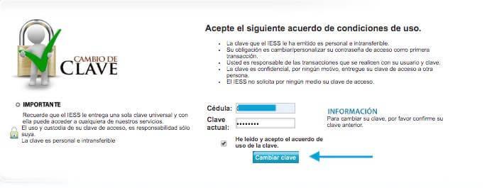 cambio de clave IESS por Internet