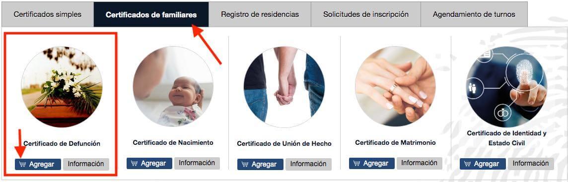 Certificado de Defuncion de familiares por Internet