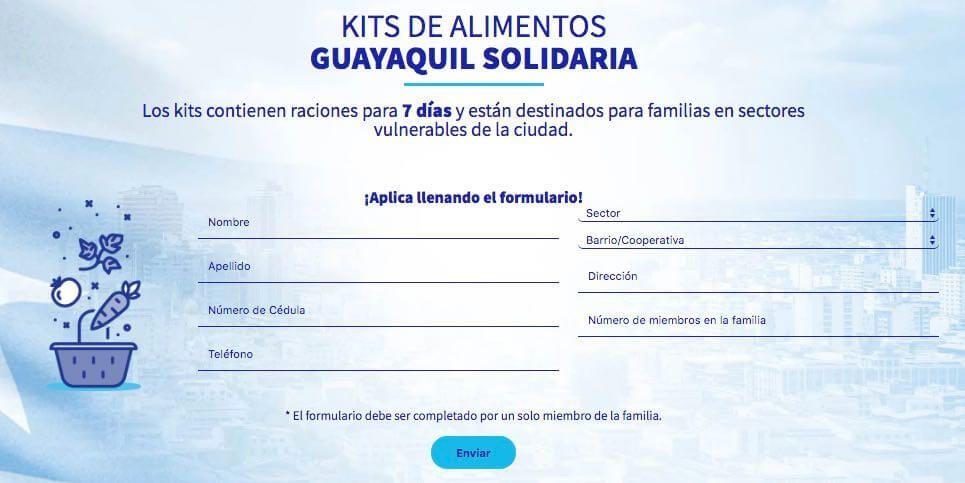 Formulario en linea Kits de alimentos Guayaquil Solidaria