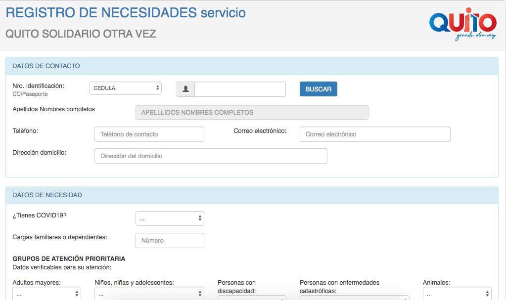 Registro de Necesidades QUITO SOLIDARIO OTRA VEZ