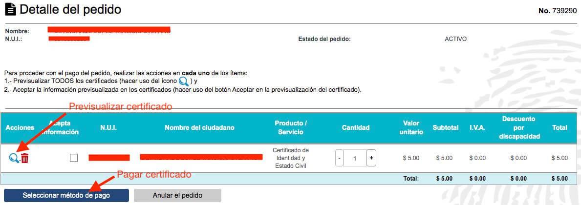 Pagar certificado de identidad por Internet