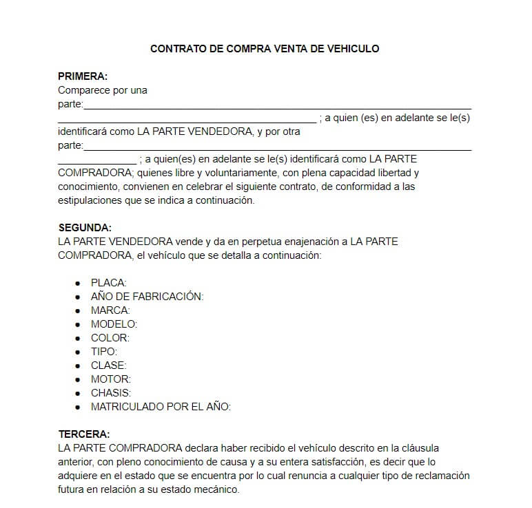 Modelo de contrato de compraventa de vehículo Ecuador