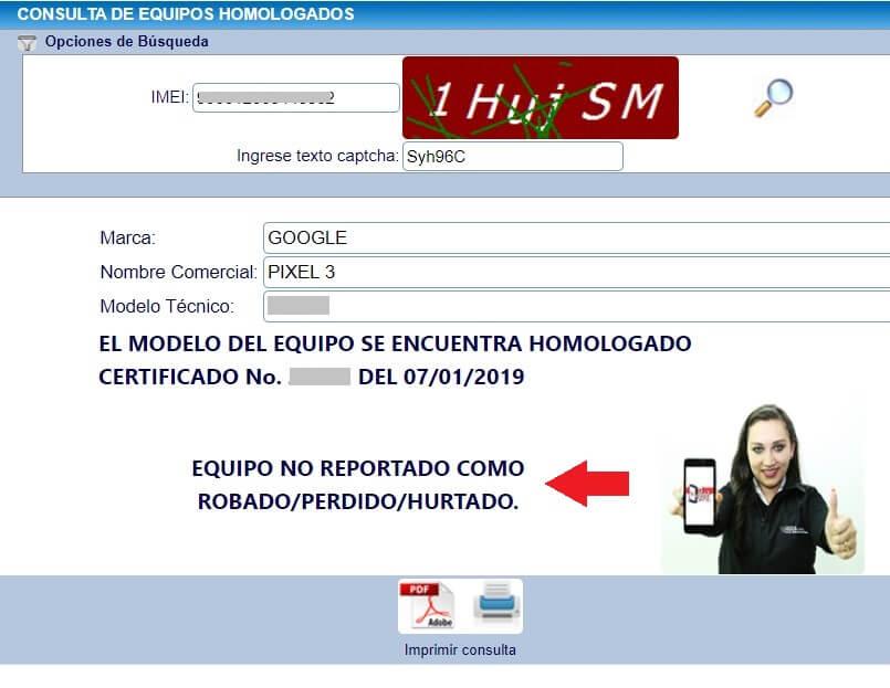 Consulta de IMEI y homologacion de celular