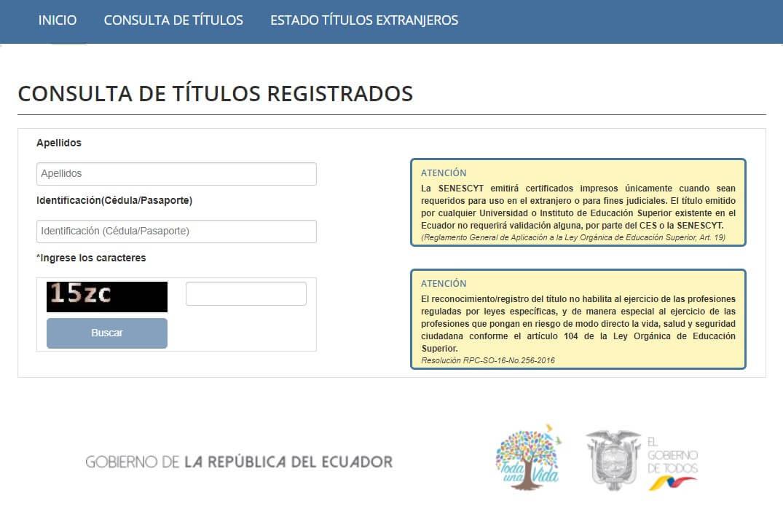 Consulta de títulos registrados en la Senescyt