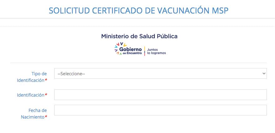 Solicitud de certificado de vacunacion digital covid 19